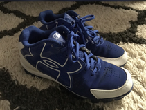 Blue underarmour baseball cleats size 4.5y in Columbus, Georgia