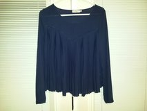 Elodie navy blue sheer pleated blouse size large in Fort Campbell, Kentucky