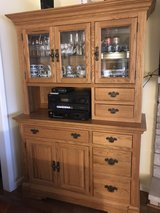 Beautiful Solid Oak Lighted China Cabinet / Bar by Richardson Brothers Co. in St. Charles, Illinois