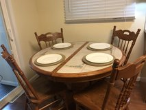 8 Piece Dining Room Set in Beautiful Oak with Inlaid Ceramic Tile Table Top in St. Charles, Illinois