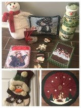 Snowman decorations, stocking and tree skirt in Warner Robins, Georgia