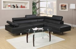 CONTEMPORARY BLACK LEATHER SOFA CHAISE SECTIONAL! NEW! in Camp Pendleton, California