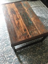 Rustic reclaimed wood & steel coffee table, 2 end table set in Fort Sam Houston, Texas