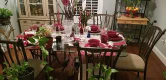 Glass dining Table with 6 Upholstered Chair and Hutch in Beaufort, South Carolina