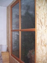 Wood/GLASS DIVIDER  -Cement pipe-Shop window glass- in Ramstein, Germany