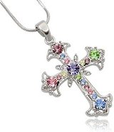 **BRAND NEW***Pastel Multi Color Crystal Cross Silver Tone Necklace*** in Kingwood, Texas