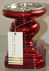 PAIR Of Max Studio Home CANDLE HOLDER Pillar RED Mercury GLASS Brand NEW in Camp Pendleton, California
