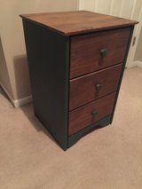 3-drawer wooden night stand (green accents) in Naperville, Illinois