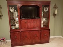 Beautiful Antique Mirrored Cherrywood Cabinet with Etched Glass in Conroe, Texas