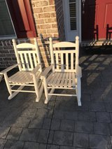 2 Wooden (white) rocking chairs/child size in Wilmington, North Carolina