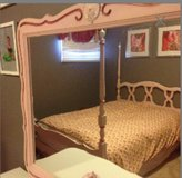 Bedroom set girls dresser mirror/ bed /nightstand duvet/ skirt and 2 pictures  all included in Morris, Illinois