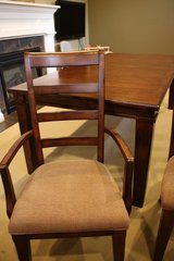 Pottery Barn style Dark wood Dining set (expandable table plus 6 chairs) in Elgin, Illinois