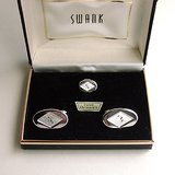 VTG SWANK SILVERTONE OVAL CUFFLINK TIE TAC SET in Chicago, Illinois