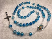 Rosary Aqua Blue Crystal Cracked Glass Beads Middle Medal Full Color St. Christopher Italian Sil... in Kingwood, Texas