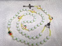 Rosary with Apple Slices for Pater Beads Snow White Faceted Beads Lime Green Yellow Accents Ital... in Kingwood, Texas