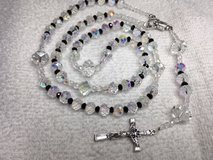 Rosary Czech Crystal Beads with Black Crystal Accents AB Finish Dainty Italian Silver Medal and ... in Kingwood, Texas