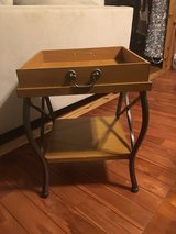 End table with wood tray in Okinawa, Japan