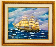Original French Painting with Artist's Signature, Oil on Canvas, Seascape/ Sailing Ship in Ramstein, Germany