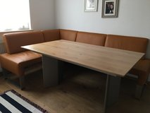 corner dining table pus real leather bench in Ramstein, Germany
