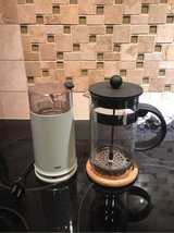 coffee grinder and French press in Kingwood, Texas