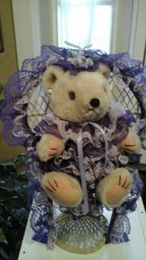 Girls Bedroom/Wedding Decor Purple Dressed Teddy Bear In Wicker Chair in St. Charles, Illinois