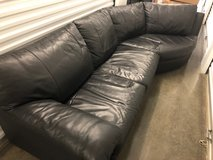Black Leather Couch in Fort Lewis, Washington