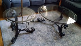 2-Piece Coffee & End Table - Wrought Iron Set w/Round Glass in Bartlett, Illinois