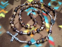 Rosary for Guys Glass Beads in Brown Tones Long Italian Silver Middle Medal and Crucifix One of ... in Kingwood, Texas