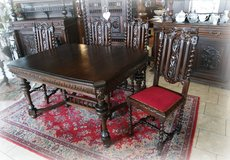 gorgeous antique dining room set with 3 chairs in Ramstein, Germany