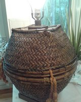Rattan vintage lamp in Beaufort, South Carolina