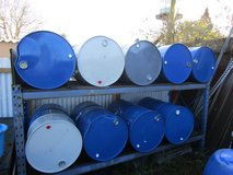 205 LITRE/45 GALLON CLOSED TOP STEEL DRUM/BARREL. BARBECUE, RAFT, OIL, FUEL, FIRE BIN ETC. in Lakenheath, UK