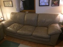 Large leather couch, loveseat, and oversized chair with ottoman in Baumholder, GE