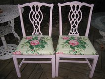 vintage shabby chic pink chipendale chairs in Yorkville, Illinois