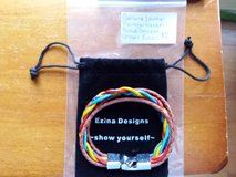 Genuine leather rainbow freedom braid bracelet in Fort Campbell, Kentucky