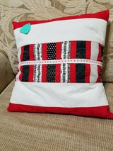Pillow (Accent) - Handcrafted Red/White/Black Design in Macon, Georgia