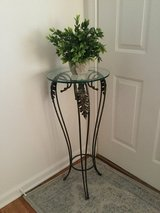 Accent Table - Wrought Iron Plant Stand with Thick Round Glass Top in Schaumburg, Illinois