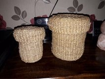 pair of sea grass baskets in Lakenheath, UK