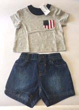 New with Tags Children's Place Boys' 0-3 months Short Set with American Flag Pocket in Hinesville, Georgia