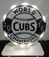 New Chicago Cubs World Series Homemade light-up display piece by local artist in Bolingbrook, Illinois