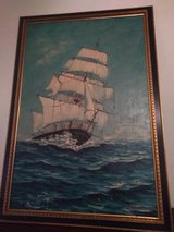 Painted old ship on water signed in Fort Leonard Wood, Missouri