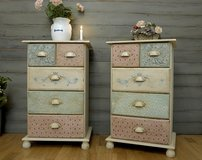 Adorable Pair Of Nightstands Beside Tables Sideboards Dressers Unique Shabby Chic Patchwork Look! in Ramstein, Germany