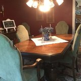 Antique Formal Dining Set with Newly Upholstered Chairs in Quantico, Virginia