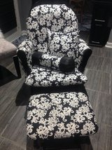 Damask Black and White Rocking Chair with Ottoman in Fort Campbell, Kentucky
