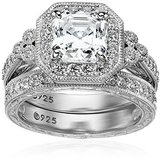 ***VALENTINE'S DAY...POSITIVELY GORGEOUS Platinum Silver Asscher-Cut CZ Antique Ring Set*** in The Woodlands, Texas