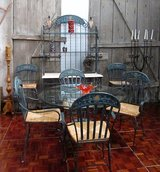 Wrought Iron Bakers Rack with Glass Topped Table and 6 Chairs in Ramstein, Germany
