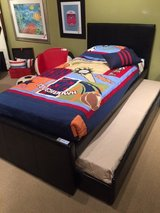 NEW! CAPPUCCINO LEATHER TWIN BEDFRAME WITH TRUNDLE. in Camp Pendleton, California