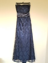 Ball gown in navy color in satin, lace with swarovski crystals, size XS in Fort Campbell, Kentucky