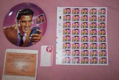 Elvis Presly Plate and Stamps in Yucca Valley, California