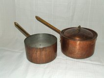 Vintage B&M Douro Tin-Lined Copper Sauce Pans Portugal in Naperville, Illinois