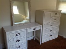 White Wicker Desk and Chest of Drawers in Naperville, Illinois